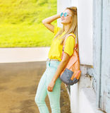 Summer, fashion and people concept - pretty cool hipster girl in Royalty Free Stock Image