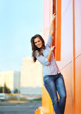 Summer, fashion and people concept - pretty smiling woman Royalty Free Stock Image
