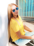 Summer, fashion and people concept - stylish hipster cool girl Stock Images