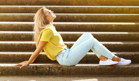 Summer, fashion and people concept - stylish pretty sensual girl Stock Images