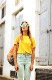 Summer, fashion and people concept - stylish pretty woman Stock Photo