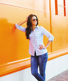 Summer fashion portrait pretty happy woman in sunglasses posing Royalty Free Stock Images