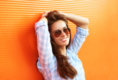 Summer fashion portrait pretty sensual woman in sunglasses Royalty Free Stock Images