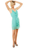Summer fashion. Pretty fashionable girl in green dress Stock Images