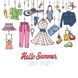 Summer fashion set.Woman colorful wear hanging on rope stock illustration