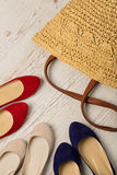 Summer fashion set. Women`s bag and shoes ballerinas. Royalty Free Stock Images