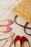 Summer fashion set. Women`s bag and shoes ballerinas. Stock Photos