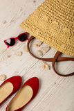 Summer fashion set. Women`s bag, shoes ballerinas and sunglass Royalty Free Stock Photo