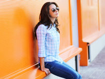 Summer fashion, stylish woman in sunglasses Royalty Free Stock Images