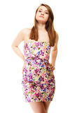 Summer fashion. Teenage girl in floral dress isolated Stock Photography