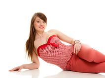 Summer fashion. Teenage girl in red outfit isolated Royalty Free Stock Image