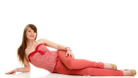 Summer fashion. Teenage girl in red outfit  Stock Images