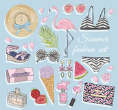Summer fashion vector accessories set. Stock Image