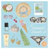 Summer fashion vector accessories set. Royalty Free Stock Image