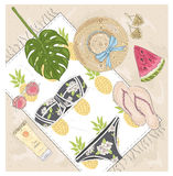 Summer fashion vector accessories set. Royalty Free Stock Photos