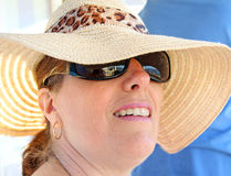Summer fashion wear model. Photo of a pretty model wearing summer hat and sunglasses for protection Stock Photography