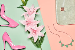 Summer Fashion woman accessories set, lily flowers Royalty Free Stock Images