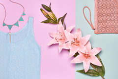 Summer Fashion woman clothes accessories set Stock Photography