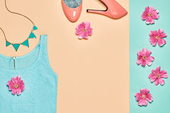 Summer Fashion woman clothes accessories set Stock Images