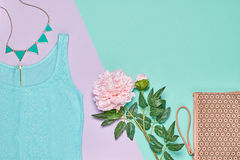 Summer Fashion woman clothes accessories set Royalty Free Stock Photo