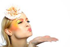 Summer fashion woman with creative eye make-up Stock Image