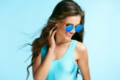 Free Summer Fashion. Woman In Sunglasses. Royalty Free Stock Image - 112992476