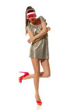 Summer Fashion Woman In Red Plastic Sun Visor Cap Stock Photos