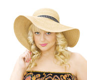 Summer fashion - woman with straw hat Royalty Free Stock Images