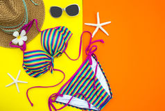 Summer Fashion woman swimsuit Bikini. Tropical sea.Unusual top view, colorful background. Summer Concept royalty free stock photos