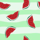 MELON HAND DRAW SEAMLESS VECTO PATTERN. STIPED BACKGROUND SUMMER FUNNY TEXTURE. SUMMER FEELING. MELON PINEAPPLE ICE CREAM ILLUSTRATION. SUMMER COMPOSITION Royalty Free Stock Photo