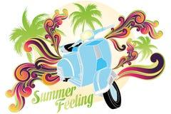 Summer feeling. Retro illustration ( on white) of motobike with palms, sun and colorful swirls stock illustration