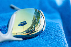 Summer feeling. Sunglasses with reflection Royalty Free Stock Images