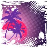 HELLO SUMMER LETTERING. PALM TREES GRADIENT SUNSET. TROPICAL PARADISE BACKGROUND stock illustration