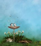 Summer feelings. Two cute birds flirt to a water fountain - blue butterflies fly around it Stock Photography