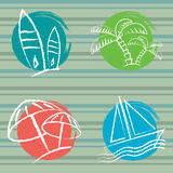 Summer feelings seamless. Vector pattern with surfing boards, boat, palms and parasols Royalty Free Stock Photo