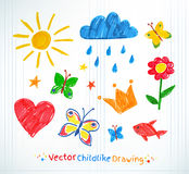 Summer felt pen child drawing. On checkered school notebook paper Royalty Free Stock Image