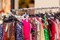 Summer Female Dresses at a Store. CloseUp shot Stock Photos