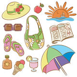 Summer female vacation icons set Stock Image