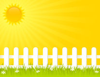 Summer Fence. White fence on a sunny summer day.  EPS 8 RGB with global colors vector illustration Stock Photos