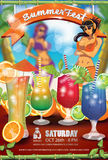 Summer Fest Flyer Cocktails Royalty Free Stock Image