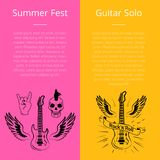 Summer Fest and Guitar Solo Collection of Banners Royalty Free Stock Photo
