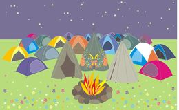 Summer festival. Illustration of music festival campsite at night under a starry sky, tents around the campfire could be used for greetings card Royalty Free Stock Photography