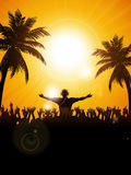 Summer festival with dj and palm trees Royalty Free Stock Photography