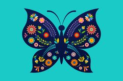 Summer festival, fair with patterned butterfly - vector background. Summer festival, fair with patterned butterfly vector illustration