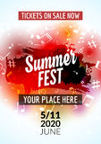 Summer festival flyer design template. Summer poster flyer template colorful design stock illustration