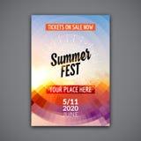 Summer festival flyer design template. Summer poster flyer template colorful design royalty free illustration