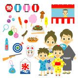 Summer festival in Japan, family. Set Stock Photos