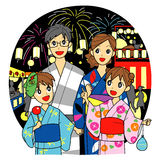 Summer festival in Japan. Family at the summer festival in Japan. Yukata kimono for summer, fireworks Royalty Free Stock Image