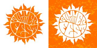Summer festival logo set. Hand-sketched lettering. Retro style  design Royalty Free Stock Photos