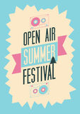 Summer festival open air poster. Retro typographical vector illustration. Stock Photo